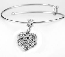 Confirmation Bracelet  Holy communion bracelet  best jewelry gift crystal heart