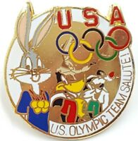 USA Bugs Bunny Olympics Lapel Pin Badge Sylvester Coyote Warner Bros Vtg 1990s