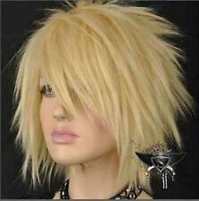 Hot Sell! Blonde Short Straight Spike Punk Cosplay Show Wig Fashion  F689