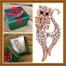 Pin + Holiday Gift Box Kitty Cat Goldtone Rhinestone Brooch