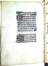 Medieval illuminated BoH leaf ,vellum,Gold-heigthened initial&linefillers,c.1420