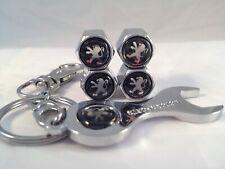 PEUGEOT CHROME STEEL Tyre Wheel Dust Valve Caps Spanner Keyring 206 207 307 306