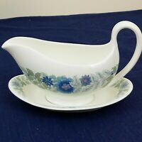 wedgwood clementine gravey boat and plate bone china Blue and Lavendar Flora