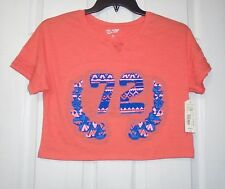 Arizona Girl's S/S Cropped Shirt Orange/Latin Coral Size Medium 10-12 New Nwt