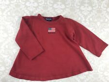Ralph Lauren Toddler Girl 2T Red Swing Dress 100% Cotton Long Sleeve Casual Flag