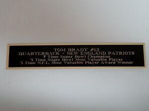 Tom Brady Patriots Engraved Nameplate For A Football Mini Helmet Case 1.25X6