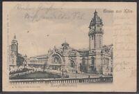 KÖL 36036) AK Gruss aus Köln Hauptbahnhof 1902