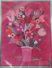 Fanciful Flowers Vintage Crewel Embroidery Kit Karen Laurence Floral Vase Parag