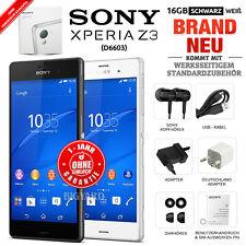 Neu Versiegelt Ohne Simlock SONY Xperia Z3 D6603 Schwarz Weiß 16GB Android Handy