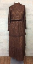 Stunning Antique Edwardian Brown Tiered Lace Dress Gown Downton Handmade