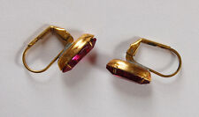 2 FUSCHIA GLASS NAVETTE MARQUIS BRASS PIERCED LEVER BACK EARRING WIRES 1 PAIR