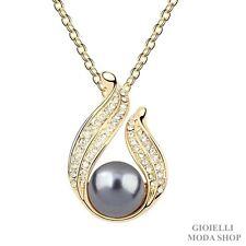 Collana Donna con Ciondolo Crystal Swarovski Incastonati Perla Sintetica - G116