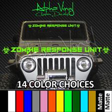 Jeep Windshield Banner Zombie Biohazard 14 colors Fits: Wrangler TJ JK XJ CJ YJ
