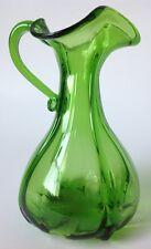 """Green Art Glass Pitcher Vase Cruet Optic Ruffled Applied Handle Handblown? 8.5"""""""