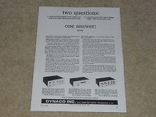 Dynaco Annuncio, 1964, Tubi ! SCA-35, FM-3, PAS-3, Articolo, Info, 1 Pagina