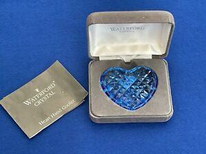 A Vintage Waterford Crystal Blue Glass Heart Hand Cooler - with case