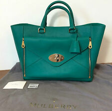 MULBERRY Large Willow Tote Bag Emerald Green Leather Pristine Condition A+