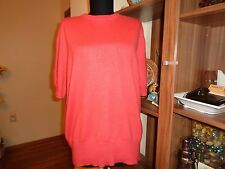 GIORGIO GRATI 100% CASHMERE PINK KNITTED SHORT SLEEVE JUMPER-XL,16-UK