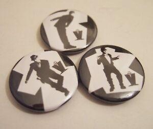 Ska 2 Tone Skins Chas Smash Madness badges x3