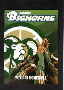 Reno Bighorns--2010-11 Pocket Schedule--Atlantis Steakhouse--Kings Affiliate