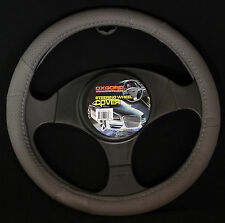 Oxgord Leather Steering Wheel Cover in Gray GL101 GR