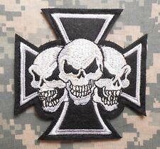 CELTIC SKULL CROSS USA ARMY SWAT BLACK OPS VELCRO® BRAND FASTENER PATCH