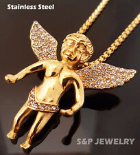 "Stainless Steel Gold flying baby angel Pendant & 24"" Round Box Chain Necklace"