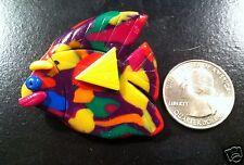 Polymer Clay Fish Pin Brooch ~