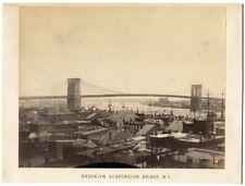 Brooklyn Suspension Bridge New York City 1880s Albumen Photo on Mount