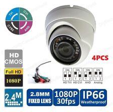 4PCS HD-CVI 1080P 24IR Weatherproof Dome CCTV Camera High Definition 2.8mm BNC
