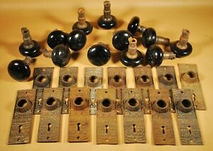 14 PORCELAIN DOOR KNOBS & 14 IRON BACKPLATES / VICTORIAN - EASTLAKE