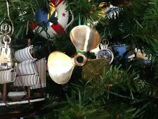 Brass Propeller Christmas Tree Ornament - Nautical Christmas Tree Decoration - N