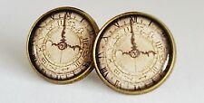 Old Timer Earrings Steampunk Clock Studs Jewellery Time Alice In Wonderland NEW