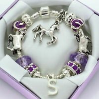 Girls Horse Pony Bracelet PERSONALISED GIFT BOX Any Initial Purple Charms