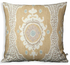 Lewis and Wood Ikat Bukhara Linen Designer Cushion Pillow Cover Cream Blue