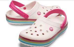 CROCS Crocband Pink Rainbow Sequin Clog Shoes women's size 7