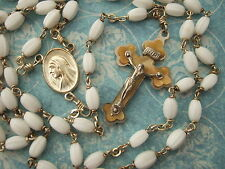 Vintage Catholic Rosary White 4x7mm glass Beads Pearly Crucifix