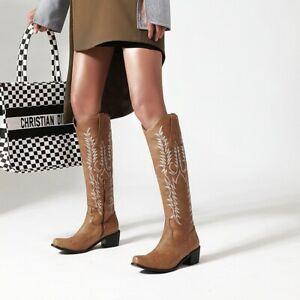 Women Round Toe Embossed Cowboy Mid Calf Knee High Knight Boots Block Heels Zip