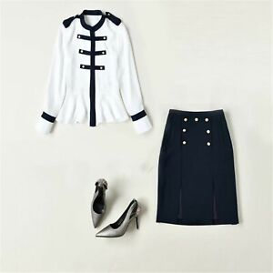 2021 Women Designer Inspired Navy Flare White Shirt + Navy Pencil Skirt Suit