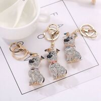 South Korean Hot Crystal Puppy Dog Keychain Key Ring Trinket Purse Bag Car  Y5C7