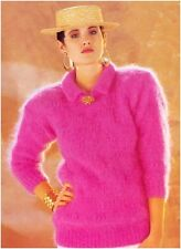 Ladies' Mohair Sweater with Round Neck and Collar Vintage Knitting Pattern