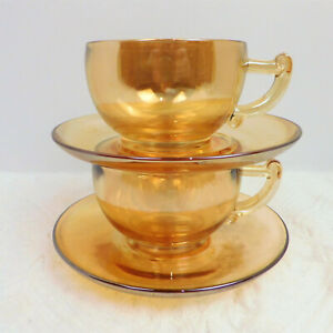 Vntg Set of 2 Jeanette Carnival Glass Marigold Moderne Coffee/Tea Cups/Saucers