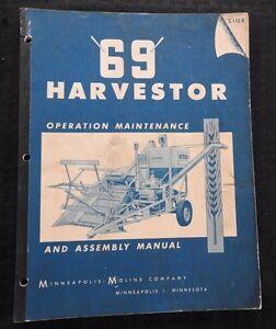 "GENUINE 1952 MINNEAPOLIS MOLINE ""69"" HARVESTOR OPERATORS MANUAL 80 PAGES CLEAN"