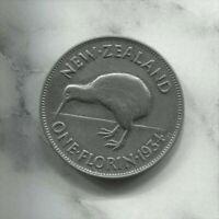 "NEW ZEALAND - BEAUTIFUL HISTORICAL GEORGE V ""KIWI"" SILVER FLORIN, 1934, KM# 4"