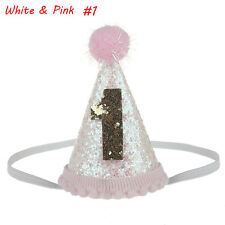 2017 Kids Baby Shiny Party Headband Hat Hair Band Festival Birthday Headwear White & Pink #2