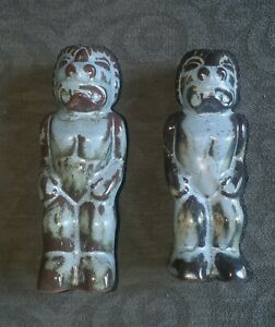 Very Rare Frankoma Trade Winds T5 Tiki God Salt and Pepper Shakers