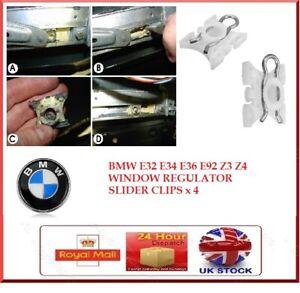 WINDOW REGULATOR SLIDER CLIPS BMW E32 E34 E36 E92 3 5 7 Plastic with metal clip