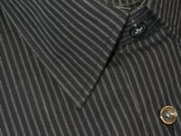 NEW DAMAGED HUGO BOSS BLACK w WHITE FINEST STRIPES DRESS SHIRT 15.5 32/33