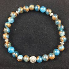 Gemstone Yoga Chakra Reiki Bracelet Blue Cloisonne Jasper Gift Crystal 18cm