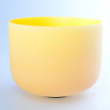 "8"" E Solar Yellow Wholesale Chakra Crystal Quartz Singing Bowl Heal Stone"